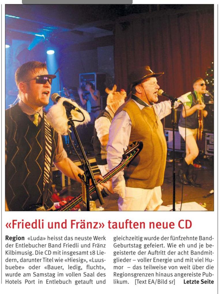 Entlebucher Anzeiger Artikel der CD-Taufe der Friedli & Fränz Kilbimusig